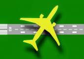 Teken vliegtuig en luchthaven vectorillustratie — Stockvector