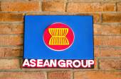 Sighburi,Thailand - OCT 19: Symbol Asean on Wall in Robot museum — Stock Photo