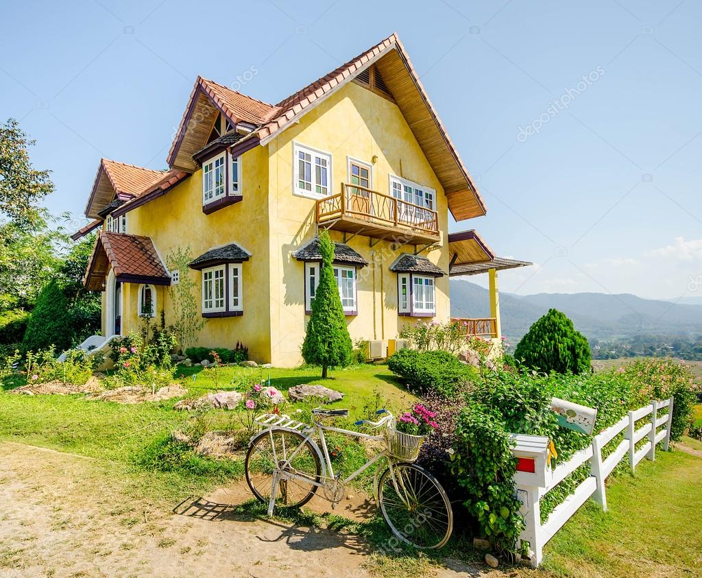Vintage House Of Germany Style In Thailand Stock Photo