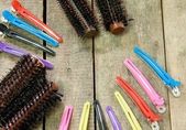 Hair brush comb and Hairpins  — Stock Photo