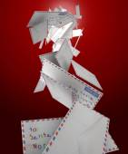 Falling Letters To Santa — Stock Photo