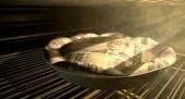 Norwegian Kronor Money Pie Baking In The Oven — Stock Photo