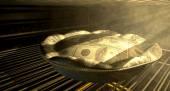 US Dollar Money Pie Baking In The Oven — Stock Photo