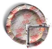 Slice Of Hong Kong Dollar Money Pie — Stock Photo