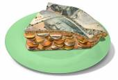 Slice Of Kronor Money Pie — Stock Photo