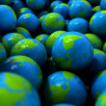 Gum Ball Earth Globes — Stock Photo #60072663