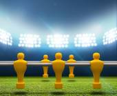 Floodlit Stadium With Foosball Players — Stock Photo