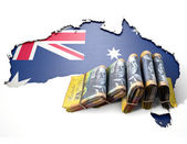 Ausralia Map And Folded Notes — Stock Photo