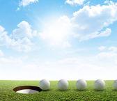 Golf Hole And Ball Putt Path — Stock Photo