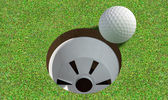 Golf Hole With Ball Approaching — Stock Photo