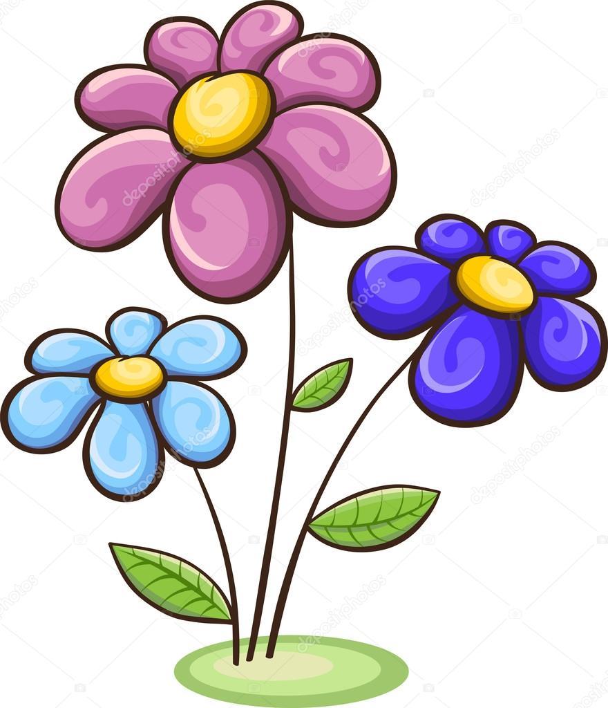 Tre fiori di cartone animato — vettoriali stock odrina