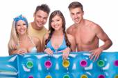 Happy young women and men with air-bad — Foto Stock