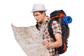 Lost tourist with map — Foto Stock