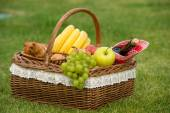 Picnic basket with wine and fruits — Stock Photo