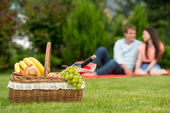 Romantic picnic basket with wine and fruits — Stock Photo