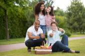 Group of young friends enjoying picnic — Stock Photo