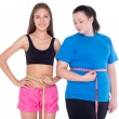 Overweight woman and with well figure — Stock Photo #57007537