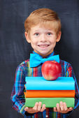 Smiling encoureged ginger boy holding a pile of books — Stock Photo