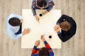 Top view table with group of young people — Stock Photo