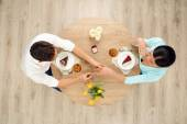 Top view of table and marriage proposal — Foto de Stock