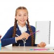 Happy school girl with notebook — Stock Photo #65355379