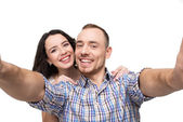 Lovers making selfie. They smile — Stock Photo