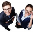 Top view photo of business man and woman with folders — Stock Photo #66295833