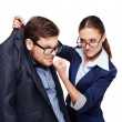 Strict female boss holding afraid businessman by collar — Stock Photo #66295865