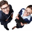 Top view photo of smiling business man and woman — Stock Photo #66296001