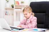 Girl playing role of business woman — Stock Photo