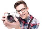 Nerd in glasses and checkered shirt — Stock Photo
