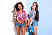 Funky couple. Creative concept of beautiful sexy girls. — Stock Photo