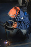 Welding of metal products — Stock Photo