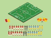 Flat Style Soccer Tactic Table. Vector Illustration.  Isometric — Stock Vector