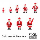 Pixel Santa with blue horse — Vector de stock