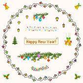 Ensemble de pixel art pour noël et nouvel an — Vecteur