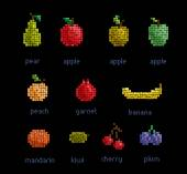 Vector pixel fruit collection — Stock Vector