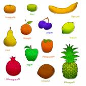 Fruit set with texture — Wektor stockowy