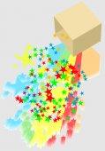 Box and confetti  — Stock Vector