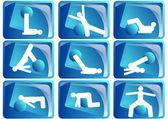 Pilates icon set — Stock Vector