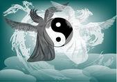 Yin i yang fantasy z aniołów — Wektor stockowy