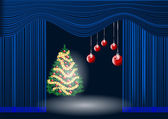theatre curtain and christmas tree — ストックベクタ