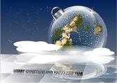 Christmas card with earth — Stock Vector