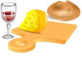 Cheese, bread, wine — Stock Vector