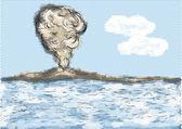 火山的山、 海 — 图库矢量图片