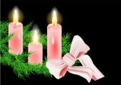 Christmas wreath and candle — Vector de stock