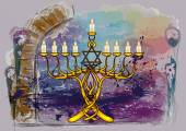 Menorah with candles — Stock Vector