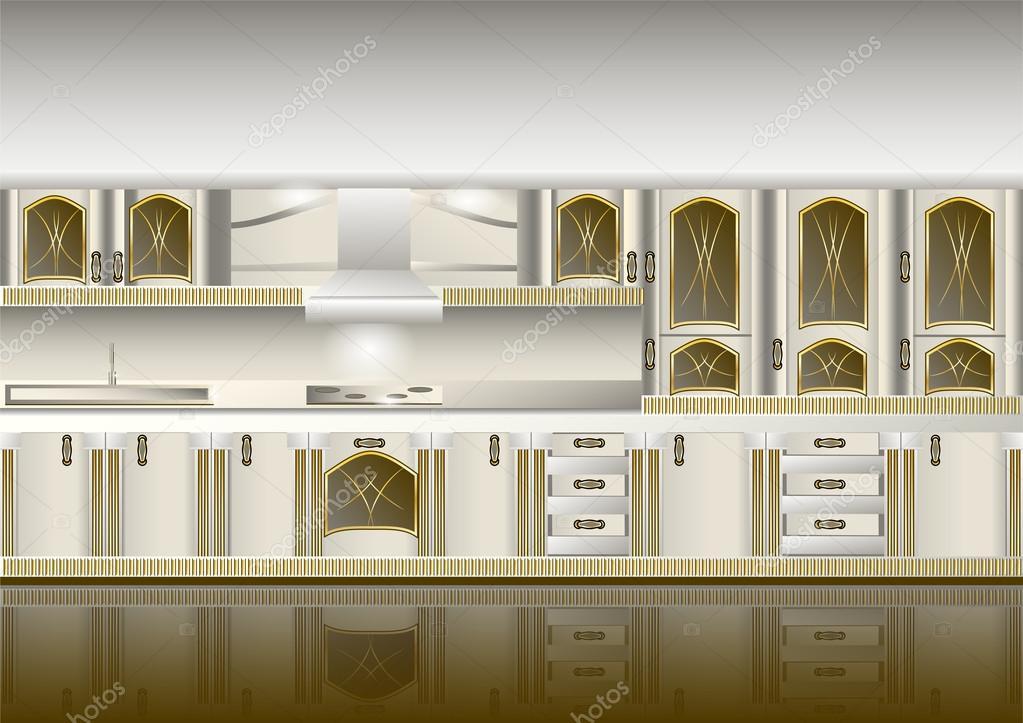 Witte klassieke stijl keuken — Stockvector © arkela #94306668