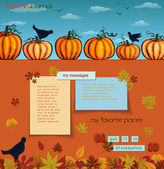 Pumpkins and Crows Autumn Background — Stock Vector