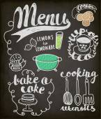 Blackboard Doodles Themed Around Food and Drink — Stock Vector